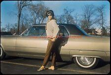1960S DETROIT BLACK AFRICAN AMERICAN WOMAN BY CAR ORIG VTG 35MM PHOTO SLIDE CUTE