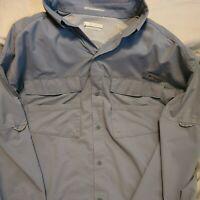 Mens Columbia Pfg Size L button Up Shirt Slate Blue Long Sleeve