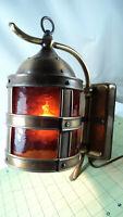 Vintage Brass dark amber Harbor Lamp Sconce