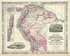 1865 Johnson Map of Venezuela, Colombia, Ecuador, Peru, Bolivia, Chile, Guiana