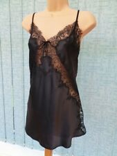 C15X BOUX AVENUE BLACK SHEER LACE SILKY SATIN CHEMISE NIGHTIE 12 WORN ONCE