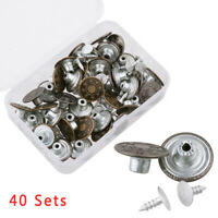 40 Sets Metal Denim Jeans Tack Snap Buttons Rivets Iron Parts With Storage Box