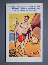R&L Postcard: Comic, C Richter, Trow 12093, Swimming Joke, Man/Woman on Beach
