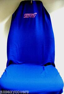 SINGLE UNIQUE BLUE SUBARU WRX LIBERTY STI EMBROIDERED PRO SPORTS SEAT COVER