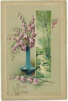 Flowers and Bridge Over Stream Best Wishes Postcard - 1908