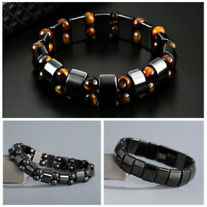 Simple Beaded Elastic Magnetic Magnet Bracelet Black Bead Therapy Health Jewelry