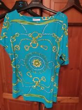 CHARTER CLUB (Petite) Royal Blue & Gold Marine Print blouse Size L UK 14 NEW