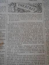 1868 Chronique musicale Geneviève de Brabant musique de Offenbach