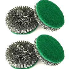 2 X 2 Pieces Shining Stainless Steel Sponges Scrubbers Heavy Duty Scrub Sponge