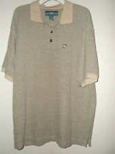 XL BIG DOGS knit POLO / GOLF / RUGBY SHIRT beige/gray  Embroidered BIG DOG LOGO
