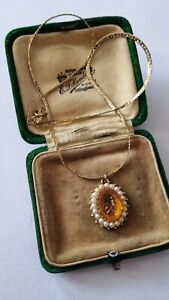 Vintage Art Deco Carved Citrine Glass Cameo Pearl Pendant Necklace