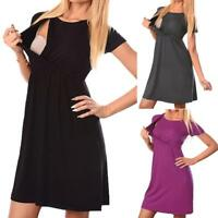 Women's Maternity Nursing Wrap High waist Dress Short Sleeve Double Layer Dress