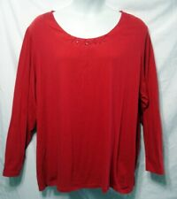 JUST MY SIZE WOMAN PLUS 5X 30/32 RED KNIT BEAD PEARL TOP SHIRT BLOUSE L/S EUC