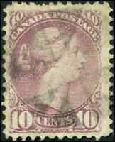 Canada #40 used F-VF 1877 Queen Victoria 10c dull rose lilac Small Queen cancel