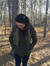 Brown and Multi-color Mohair Handknit Scarf