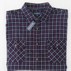 CHISEL Mens BNWT Check Shirt | Long Sleeve Button Up Reg Fit | Navy Size M