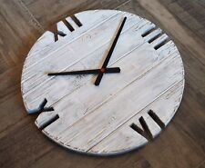 Wall Clock wood pallet shabby chic vintage classic old-style white 40cm rustic
