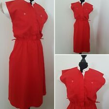 Ladies VINTAGE 80s Red Diner Dress Sz 10/12 Retro Swing 50s Style Short Sleeve