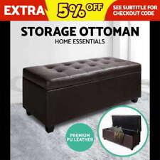 Brown Leather Storage Ottomen