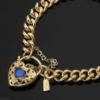 18K Yellow Gold GL Women's Solid Medium Euro Bracelet & Sapphire Heart 20cm