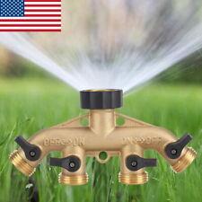 4 Way Garden Hose Splitter Brass Water Pipe Tap Connector Shut Off Adapter Valve