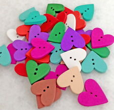 100pcs Multicolor Heart Shaped 2 Holes Wood Sewing Scrapbooking Buttons