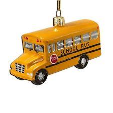 C4374 Noble Gems Grade School Bus Glass Christmas Ornament Student Teacher Kids