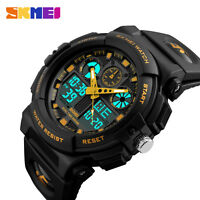 SKMEI Men's Waterproof Sport Army Alarm Date Analog Digital Wrist Watch UK