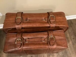 VINTAGE FAUX LEATHER SUITCASES-SET OF 2 - BROWN
