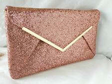 NEW ROSE GOLD GLITTER EVENING CLUTCH BAG ENVELOPE STYLE GREY PEWTER SILVER BLACK