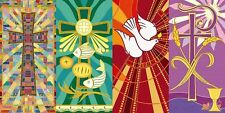 Tapestry Series Set of 4 Printed Canvas Worship Banners, 5 Foot