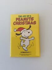 """VINTAGE snoopy PEANUTS pin/button """"THE JOY OF CHRISTMAS"""" 2""""x3"""" FREE SHIP"""