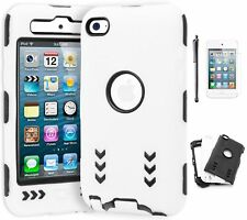 For iPod Touch 4, Hybrid Black/White Shock Design Case+Stylus+Screen Protector