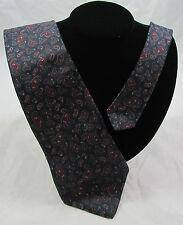 Vintage Christian Dior 100% Silk Skinny Neck Tie Navy Blue Paisley