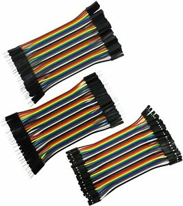 120 Piece Pin Dupont Jumper Wire Set 10cm M/F M/M F/F, Male and Female 40 Each