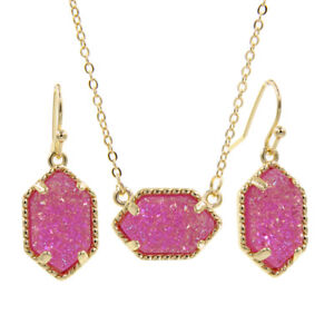 Mini Pendant Necklaces With Stud Earrings Jewelry Set Glitter Druzy Chic Choker