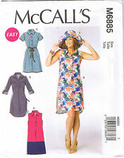 Easy Shirt Dress Collar Wide Brim Sun Hat Sewing Pattern Plus Sz 16 18 20 22 24