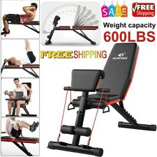 Fitness Adjustable Sit Up AB Incline Abs Bench Flat Fly Weight Press Gym Black