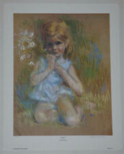 """""""Posing"""" by Frances Hook Limited Edition Hand Signed Art Print 1982 Girl Flowers"""