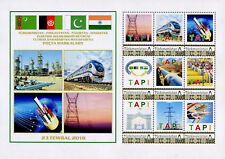 Turkmenistan 2017, Personalized stamps, Oil, Trains, sheetlet of 9v