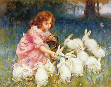 Morgan Frederick Feeding The Rabbits Print 11 x 14    #3964
