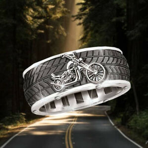 Fashion Men Bike Rings Stainless Steel Hip Hop Punk Party Jewelry Gift Size 12