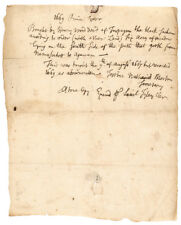 c. 1670 Plymouth Colony Descendants + Black Sachem, Wampanoag Indian Land Deed