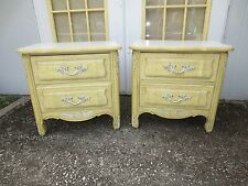 Pair Nightstands French Provincial 2 Hollywood Regency Commodes Italian Country
