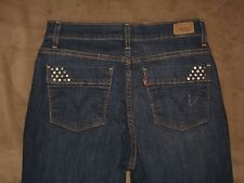Levis 512 Size 8 S/C Perfectly Slimming Straight Dark Blue Stretch Denim Womens