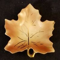 "Collectible Souvenir Ceramic Leaf Trinket Dish Waterloo Iowa 3.5"""
