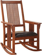 Wooden Rocking Chair Solid Wood Wide Cushioned Contoured Leather Seat  Classic