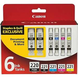 NEW GENUINE CANON PIXMA 220/221 Ink Tank Value Pack,Multi-pack (6 cart per pack)