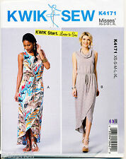 KWIK SEW SEWING PATTERN 4171 MISSES SZ 8-22 EASY MAXI WRAP DRESSES W/ TULIP HEMS