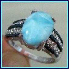Genuine Larimar Blue Diamond Ring 7.04 cts Platinum / Strerling Silver 925 sz 10